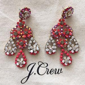 NWOT J Crew Red White Flower Rhinestone Earrings